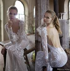 2017 Berta Wedding Dresses Long Sleeve Illusion Sexy Lace Mermaid Bridal Gowns Appliques Beaded Plunging Neckline Open Back Dress Ball Gown