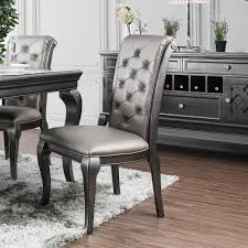 Mora Transitional Grey Tufted Dining Chairs (Set Of 2) By FOA