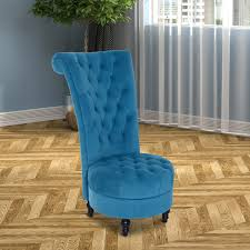 homcom 45 tufted high back flannelette accent chair blue