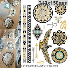Wholesale Ancient Egypt Large Metallic Gold Silver Body Art Waterproof Temporary Tattoo Sexy Non Toxic Flash Tattoos Sticker Queen Totem