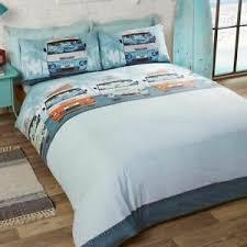 details zu retro wohnmobile palme bäume blau orange baumwollmischung doppelbett bettwäsche