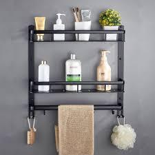 großhandel badezimmer schwarz regal aluminium dusche caddy eckregale bad handtuchhalter mit bar haken fönhalter etagere salle de bain sheiler