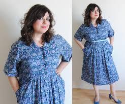 plus size dress 1930 u0027s blue floral day sack house frock dress