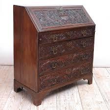 Drop Front Secretary Desk Antique by Georgian Fall Front Secretary Desk In Carved Oak England Circa