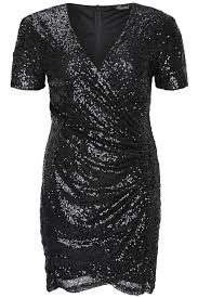 black all over sequin wrap dress with short sleeves plus size 14