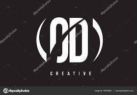 OD O D White Letter Logo Design with Black Background — Stock