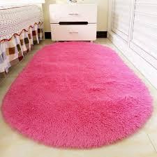 Ellipse Shape Pink Area Rug Bedroom Living Room Long Hair Shaggy