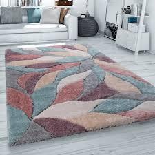 hochflor teppich wohnzimmer shaggy 3d effekt blumen muster pastell grau rot beige