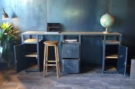 bureau m騁allique industriel bureau metal et bois bureau mactal et bois bureau bois vieilli