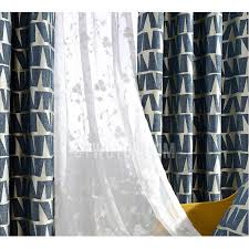 Navy Geometric Pattern Curtains by Simple Modern Curtain In Navy Blue Printed With Geometric Pattern