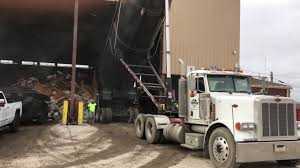 AWESOME 100 Yard Demolition Dump Truck Dumping At Transfer Station ...