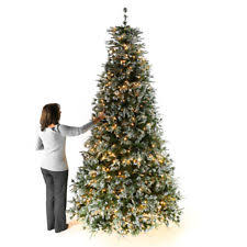 9ft 27m Pre Lit LED Green Snow Effect Artificial Christmas Tree