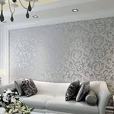 lingjun modern minimalist tapeten vlies wasserpflanze muster 3d beflockung geprägte wandbilder wohnzimmer schlafzimmer silber03
