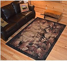 Wildlife Deer Themed Area Rug Lodge Hunting Animal Game Flooring For Cabins Cottages Home Living