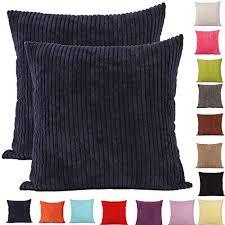 housse de coussin pour canapé comoco 2pcs couleur unie épais en velours côtelé décoratifs housse