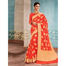 Buy Traditional Jacquard Woven Orange Banarasi Silk Saree With