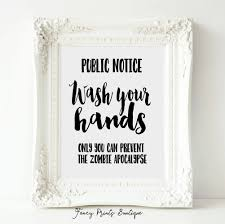 Etsy Bathroom Wall Art by Funny Bathroom Sign Printable Art Wash Your Hands Zombie