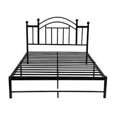 GreenHome123 Black Metal Platform Bed Frame with Headboard in Twin