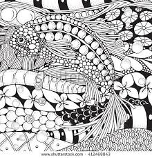 Fantastic Fish Float In The Sea Bottom Coloring Book Page For Adult Zen Art