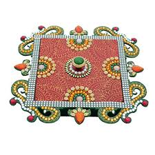 Ashyam Multi Colour Paper Mache Decorative Platter