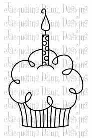 Black And White Birthday Cupcake Clipart Digital Stamp Happy Birthday Qsveot Clipart