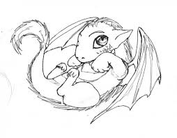 Cute And Sweet Little Baby Dragon Coloring Page For Kids