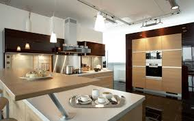 Home Decor Large Size Beautiful Architecture Modern Apartment Kitchen With Beige Wood Vinyl Table