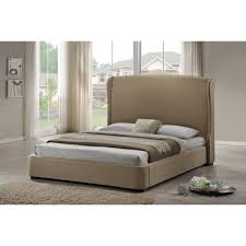 King Platform Bed With Fabric Headboard by Sheila Tan Linen Modern Bed With Upholstered Headboard King Size