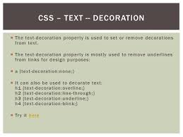 text decoration underline more space css text text color the color property is used to set