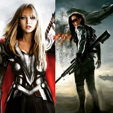 After We Saw Jen As A Marvel Superhero Thor Heres Another Fanart Jennifer Lawrence Bucky