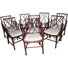 Chinese Chippendale Set Of Eight Faux Bamboo Dining Arm ... Bamboo Chippendale Chairs Small Set Of Eight Tall Back Black Faux Chinese Chinese Chippendale Florida Regency 57 Ding Table Vintage Six A Quick Living Room And Refresh Stripes Whimsy Side By Janneys Collection Chair Toronto For Sale Four
