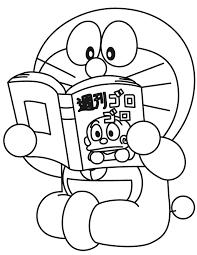 Doraemon Reads School Book Coloring Page
