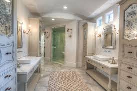 traditional master bathroom with shower flat panel
