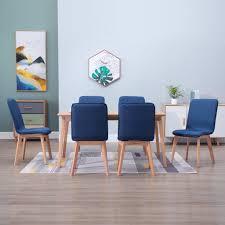 vidaxl esszimmerstühle 6 stk blau stoff und massivholz eiche