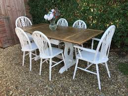 STUNNING SHABBY CHIC PAINTED JACOBEAN EXTENDING DINING TABLE & 6 CHAIRS. |  In Ash Vale, Hampshire | Gumtree Jacobean Style Ding Table And Six Chairs Set Of 8 Oak Lp1722 English Large Ref No 03869c Regent Antiques Jacoelizabethan Era 1900s Oak Ding Table With Leaf Antique Room Tables Awesome Pin On Fniture Tonawanda Woodworks Circa 1920s 6 Chairs Angelus Mfg Co Indoor Chair Elizabethan Pottery Details About Sideboard Sver Buffet Kitchen Hand Crafted Reclaimed Wood Farmhouse With Beautiful