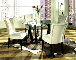 Glass Dinette Table Modern Dining And Leather Chairs