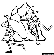 Ant And Grasshopper Online Coloring Page