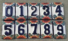 mexican decorative house numbers ceramic tile talavera