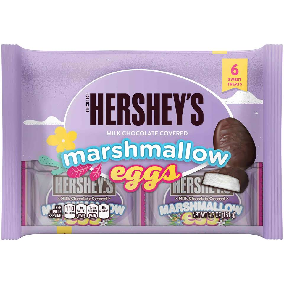 Hershey's Easter Marshmallow Eggs Milk Chocolate Covered - 6ct