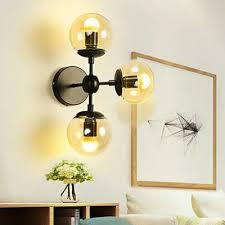 sadette 3 light glass globe black wall sconce edison bulbs