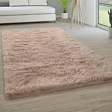 paco home hochflor teppich wohnzimmer fellteppich kunstfell shaggy flauschig einfarbig grösse 60x100 cm farbe beige