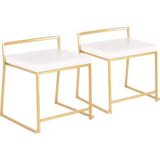 Fuji Stackable Dining Chair In Gold Metal & White Leatherette (Set Of 2) By  Lumisource Designer Green Ding Chair On Black Metal Legs Modern Soft Us 4896 28 Offfashion Classic Stainless Steelleather Chairsliving Room Chairblack White Metal Leather Fniturein Ding Giantex Set Of 4 Chairs Pvc Iron Frame High Back Home Fniture White New Hw59220 Callisto And Steel Cantilever Chair Distressed Antique 2 Angelina Wood Lexi Pair Gold Linen Fabric Tolix Style Industrial Room Y120 White Ding Chair Chrome Metal Base By Grako Selections Buschman Matte Inoutdoor Stackable Tig In 2019 Giselle