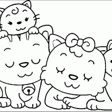 PeopleFunny Family Coloring Pages Animal Cat With Romantic Momment Array