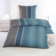 4 tlg fleece bettwäsche 135x200 cm blau anthrazit gestreift mit ornamente muster