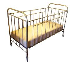 Vintage French Solid Brass Baby Crib