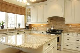 White Kitchen Mosaic Backsplash L Shape Pink Cabinet Gloss Ideas Dark Countertop Sea