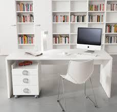 modern white office desks big shelf facing modern white desk plus