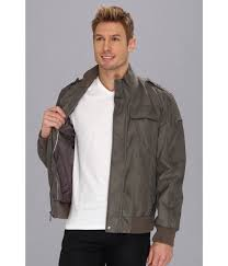 calvin klein faux leather bomber jacket in gray for men lyst