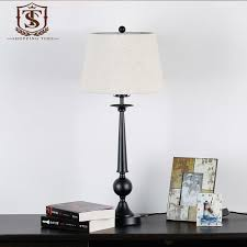 American Rustic Style Cast Iron Table Lamp E27 Fabric Shade Desk Lights Black Retro Light YT269 In Lamps From Lighting On