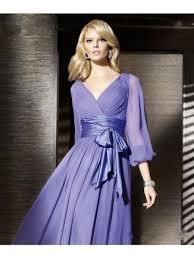 purple long sleeves chiffon prom evening formal dresses wedding